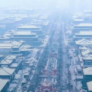 西安雪景视频 大唐不夜城雪景