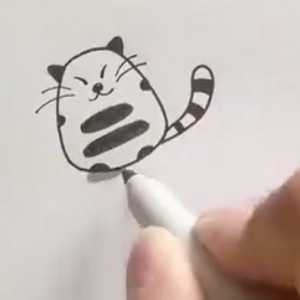 一分钟学会小猫咪简笔画教学视频
